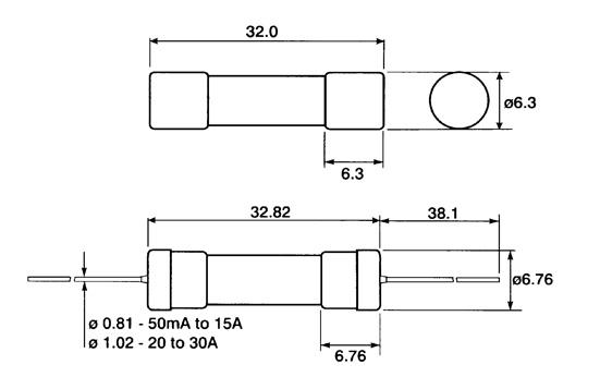 Kiire 6,3 * 32 mm keraamiline
