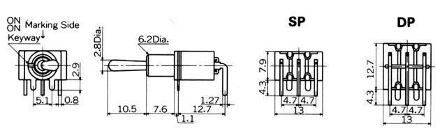 Tumblerlülitid Nikkai M-sari trükkplaadile, right angle mounting