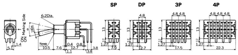 Tumblerlülitid Nikkai M-sari trükkplaadile, vertical mounting
