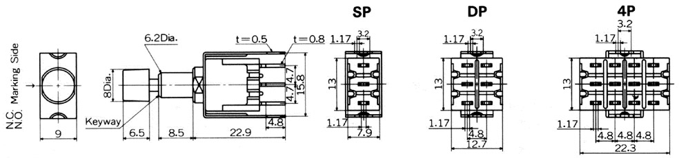 Nikkai MB-sarja surunupplülitid trükkplaadile, straight mounting