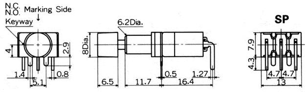 Nikkai MB-sarja surunupplülitid trükkplaadile, right angle mounting