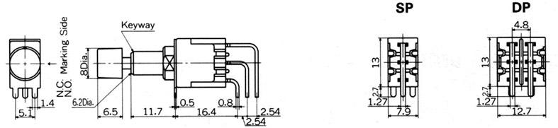 Nikkai MB-sarja surunupplülitid trükkplaadile, vertical mounting