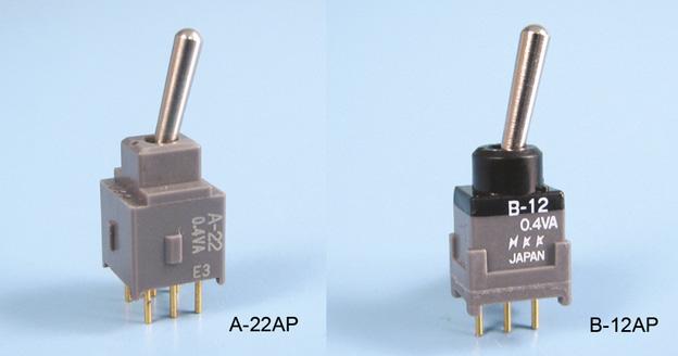 Nikkai Circuitboy-sarja tumblerlülitid trükkplaadile, straight mounting