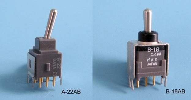 Nikkai Circuitboy-sarja tumblerlülitid trükkplaadile, straight mounting + tugiraam