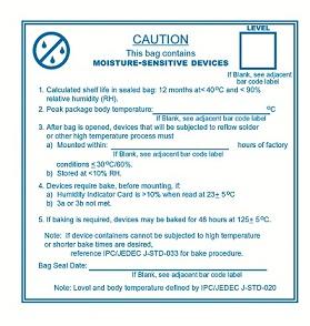IPC/JEDEC hoiatuskleeps pakendile