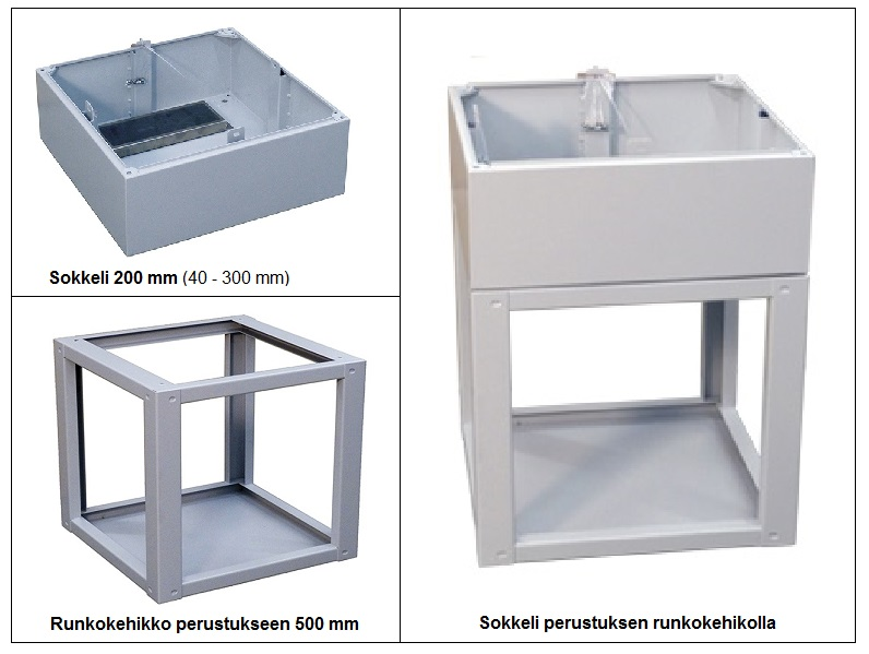 Ulkokaappi, alumiinia Leveys 400-1000 mm