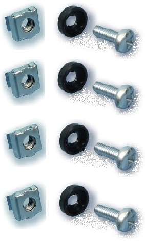 M6 Cage nut + Screw + Washer (4pcs)