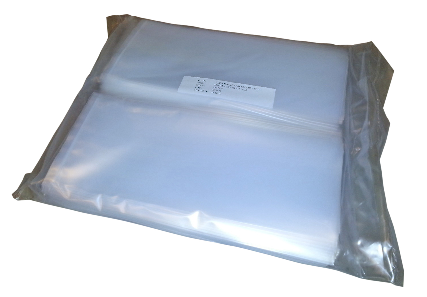 LDPE, size 105mm x 250mm x 0,1mm