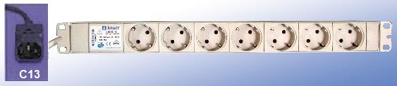 7 sockets, cable 0,5m + C14 plug