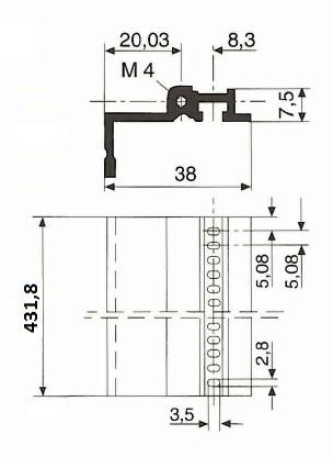 rear profile for connectors 84HP