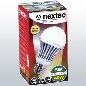 Ledlamp E27 230V 5W 410lm warm whit
