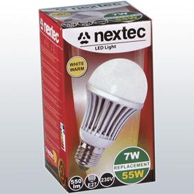 Ledlamp E27 230V 7W 550lm warm whit