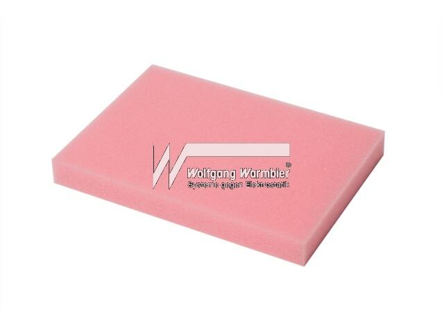 PU foam 178x127x15mm pink dissipat.
