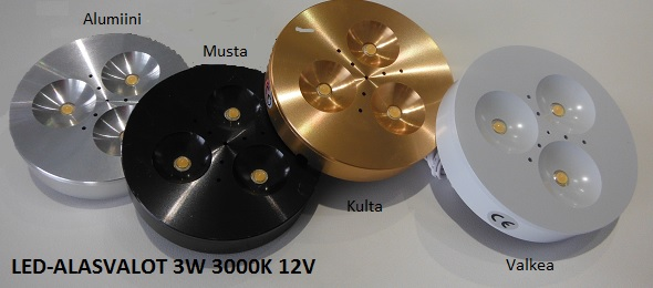 Downlight set 3 pcs  3x1W Black