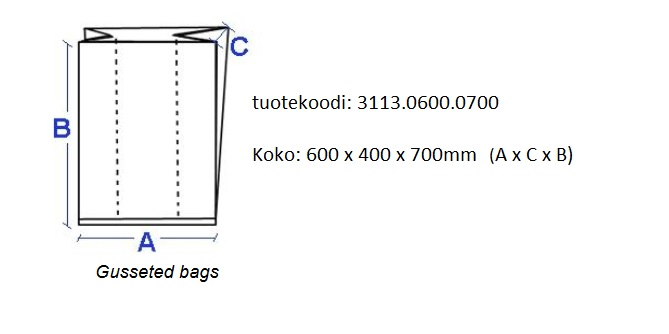 Gusseted bag for tote boxes 600x400