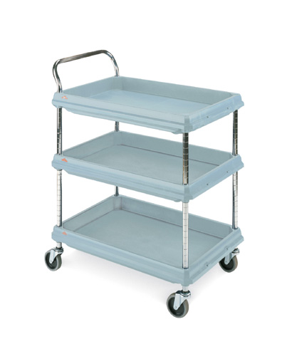 Deep ledge cart, microban 3-shelf