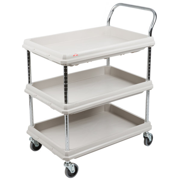 Deep ledge cart, Blue 3-shelf