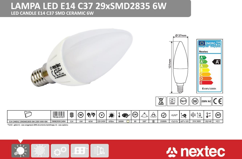 Ledlamp E14 C37 230V 6W / 494