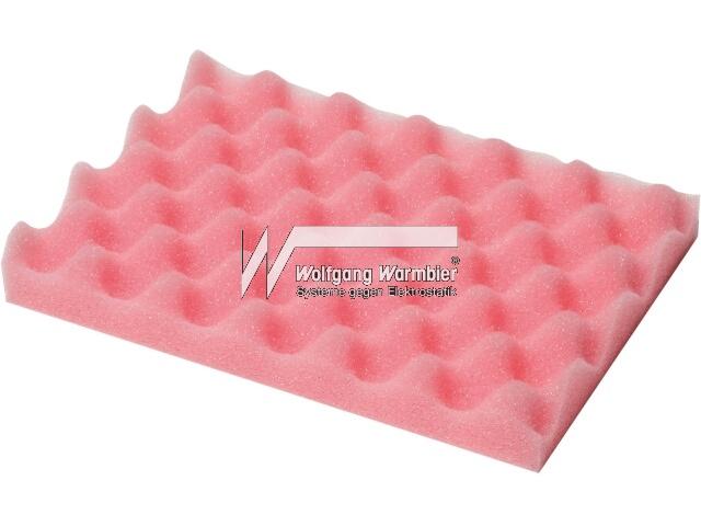 PU foam 267x216x20mm pink dissipat.